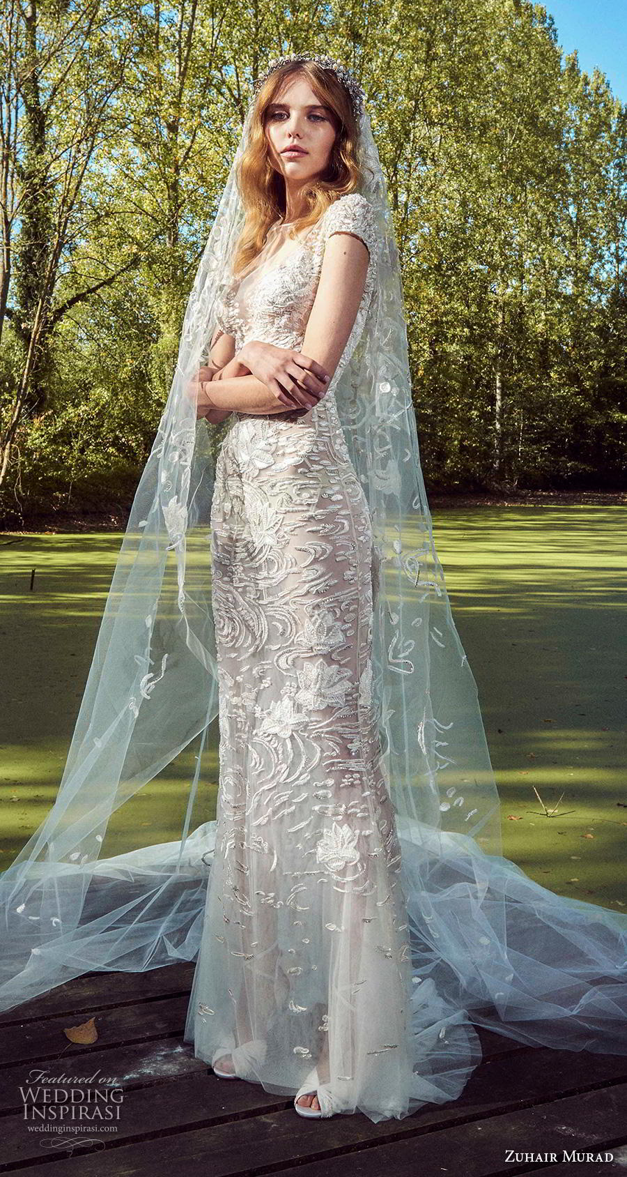 zuhair murad fall 2019 bridal cap sleeves illusion bateau sweetheart neckline full embellishment romantic sheath wedding dress sweep train (15) mv
