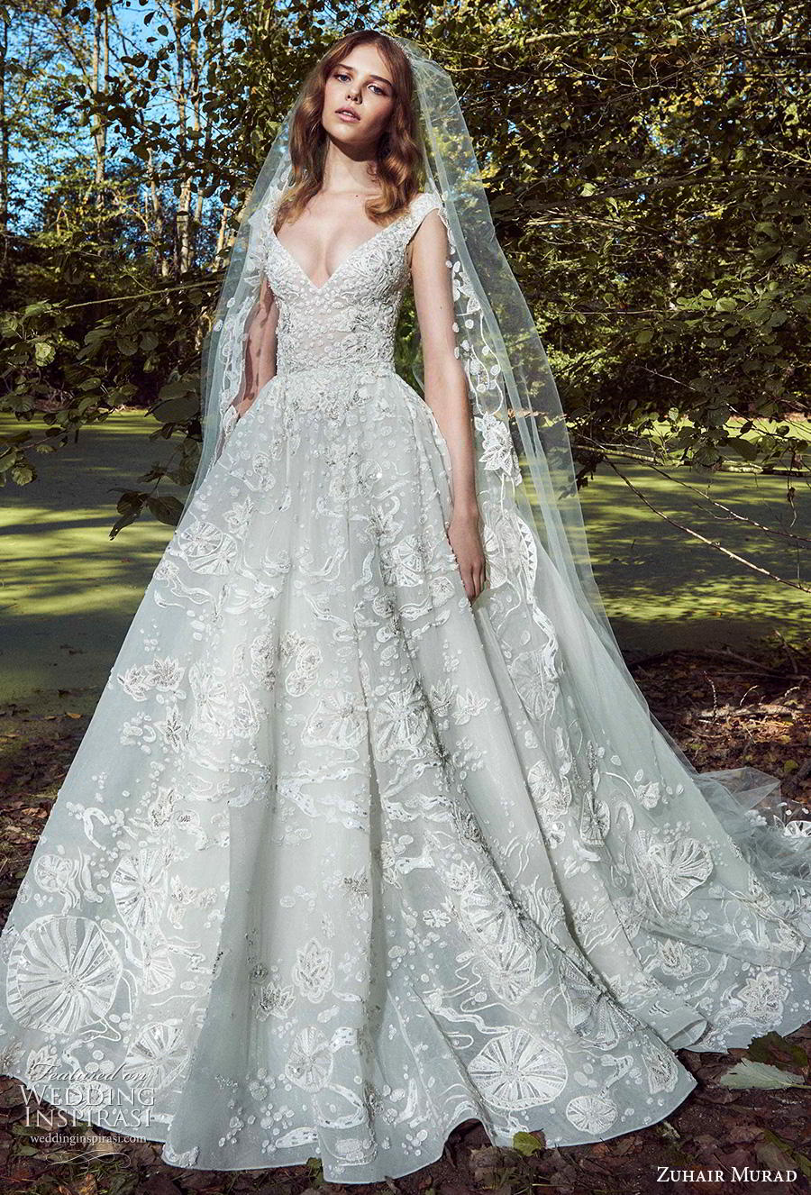 zuhair murad fall 2019 bridal cap sleeves v neck full embellishment romantic princess a  line ball gown wedding dress chapel train (16) mv