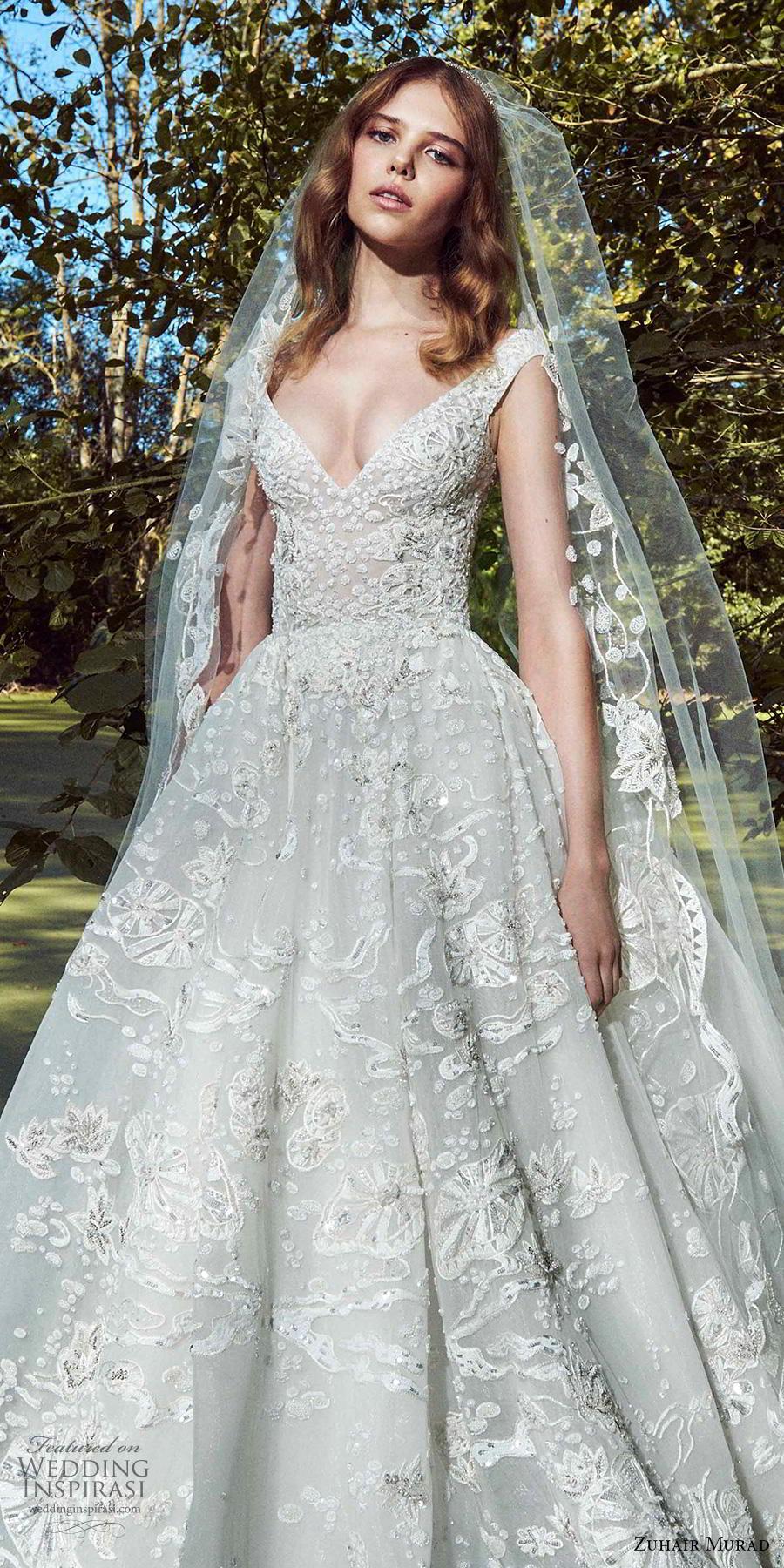 zuhair murad fall 2019 bridal cap sleeves v neck full embellishment romantic princess a  line ball gown wedding dress chapel train (16) zv