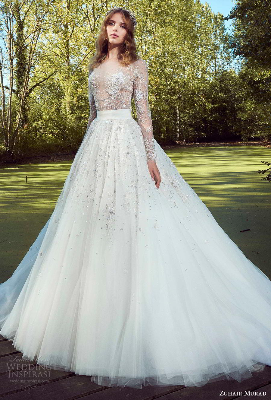 zuhair murad fall 2019 bridal long sleeves bateau neckline heavily embellished bodice romantic a  line wedding dress (2) mv