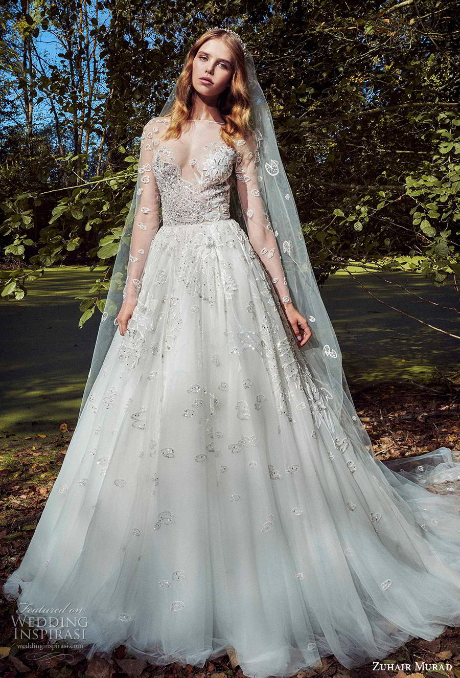 zuhair murad fall 2019 bridal long sleeves illusion bateau sweetheart neckline heavily embellished bodice sexy romantic a  line wedding dress chapel train (14) mv