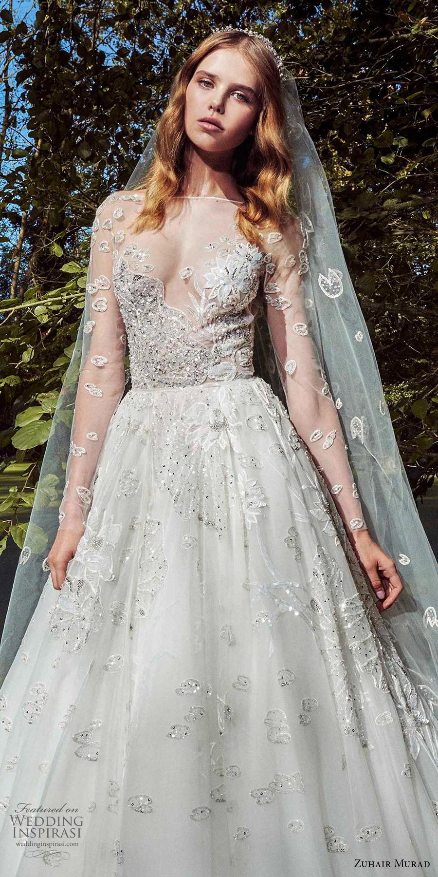 zuhair murad fall 2019 bridal long sleeves illusion bateau sweetheart neckline heavily embellished bodice sexy romantic a  line wedding dress chapel train (14) zv
