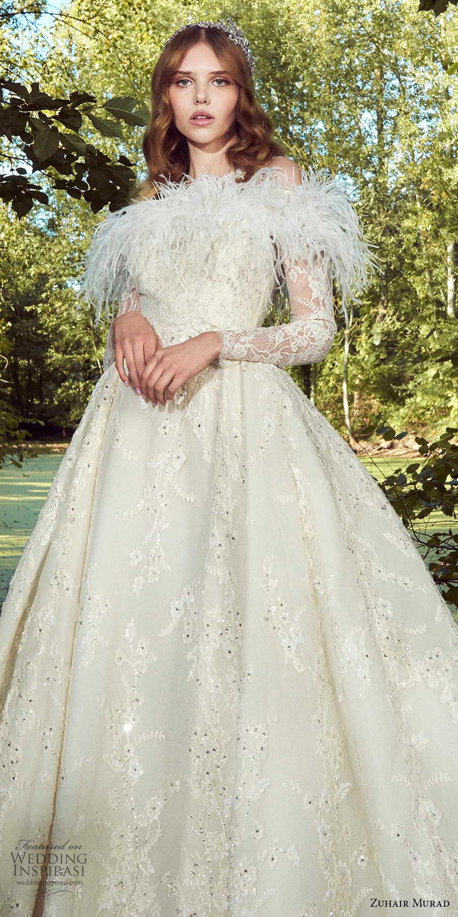 zuhair murad fall 2019 bridal long sleeves off the shoulder heavily embellished bodice feather fringe romantic princess ball gown a  line wedding dress chapel train (4) zv