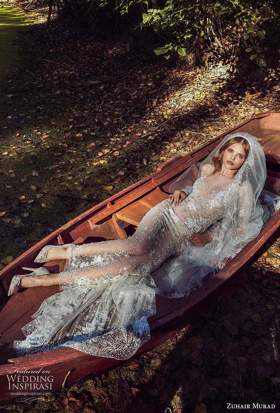 zuhair murad fall 2019 bridal long sleeves off the shoulder illusion v neck full embellishment sheath wedding dress (1) mv