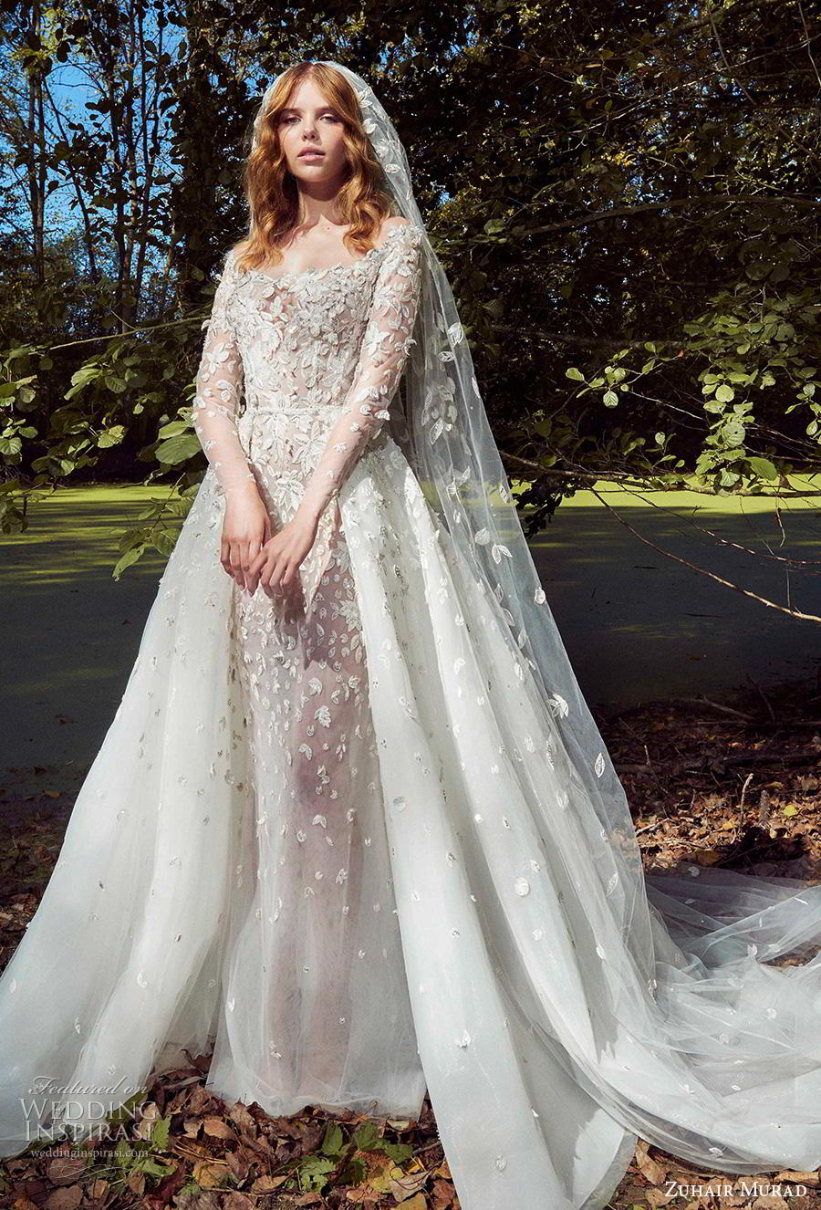 zuhair murad fall 2019 bridal long sleeves off the shoulder scoop neckline full embellishment romantic a  line wedding dress chapel train (6) mv