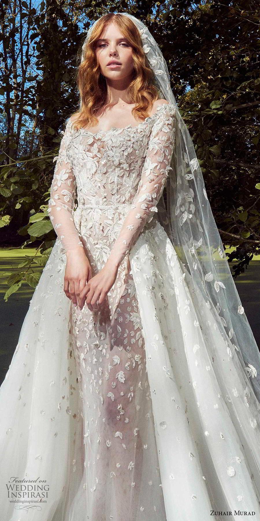 zuhair murad fall 2019 bridal long sleeves off the shoulder scoop neckline full embellishment romantic a  line wedding dress chapel train (6) zv