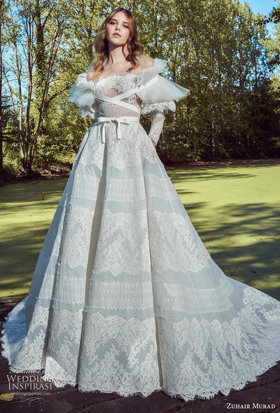 zuhair murad fall 2019 bridal long sleeves off the shoulder straight across neckline full embellishment romantic a  line wedding dress chapel train (17) mv