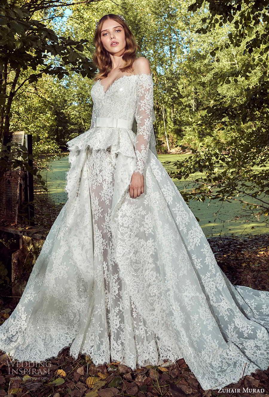 zuhair murad fall 2019 bridal long sleeves off the shoulder sweetheart neckline full embellishment peplum princess ball gown wedding dress a  line overskirt chapel train (11) mv