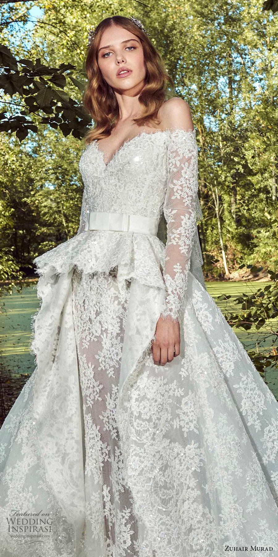 zuhair murad fall 2019 bridal long sleeves off the shoulder sweetheart neckline full embellishment peplum princess ball gown wedding dress a  line overskirt chapel train (11) zv
