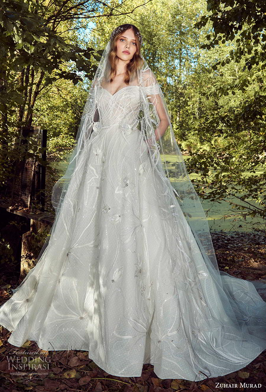 zuhair murad fall 2019 bridal off the shoulder sweetheart neckline full embellishment romantic a  line wedding dress pockets chapel train (10) mv