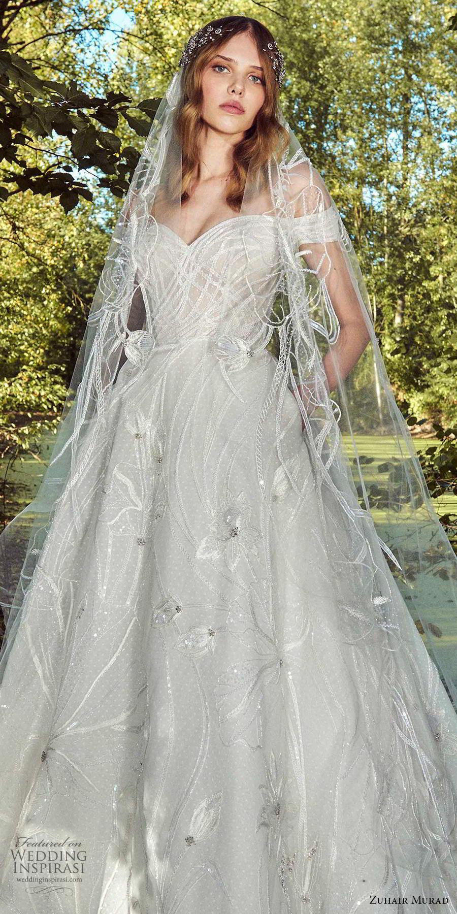 zuhair murad fall 2019 bridal off the shoulder sweetheart neckline full embellishment romantic a  line wedding dress pockets chapel train (10) zv