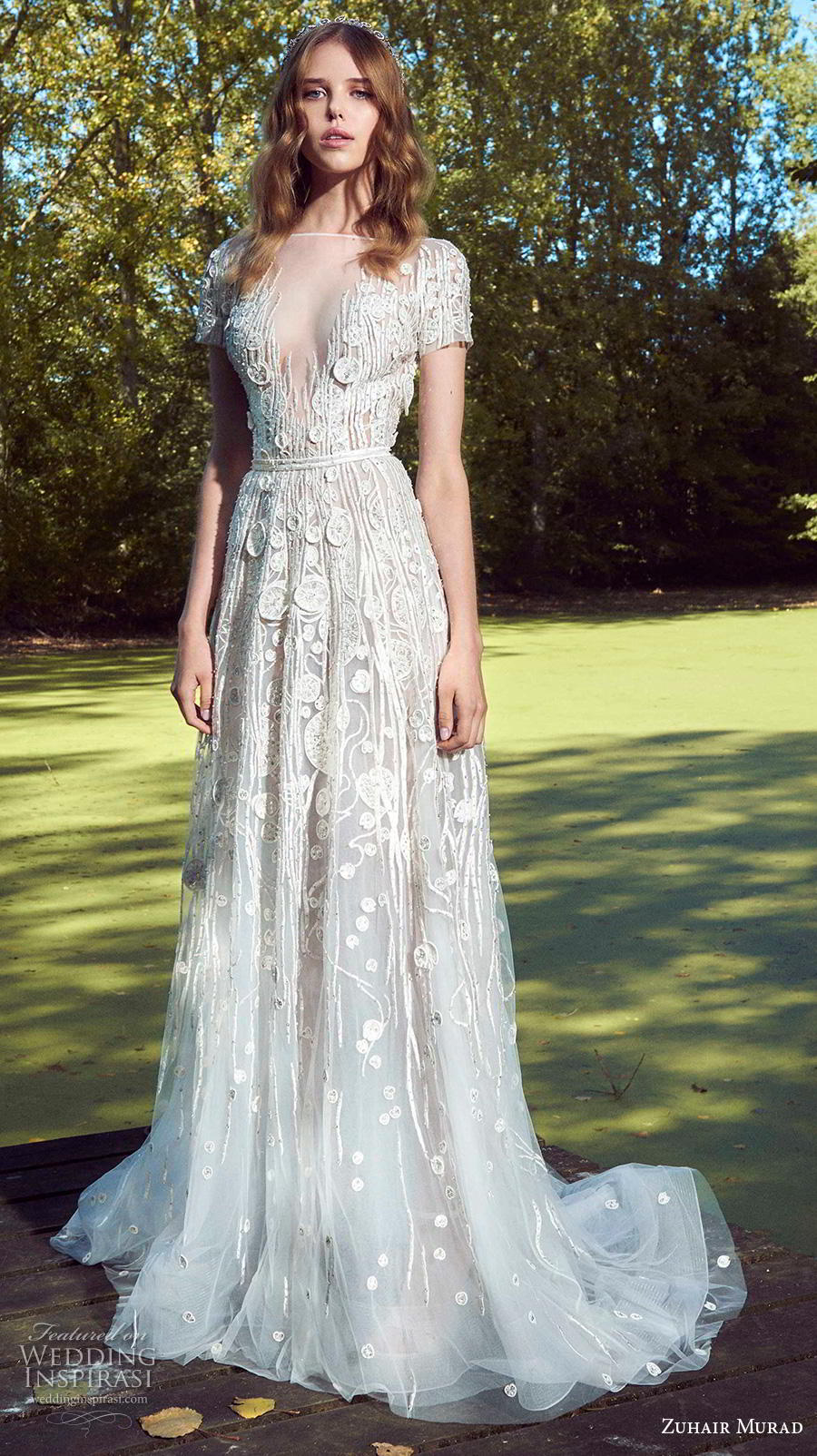 zuhair murad fall 2019 bridal short sleeves illusion bateau v neckline full embellishment goddess romantic a  line wedding dress cape sweep train (9) mv