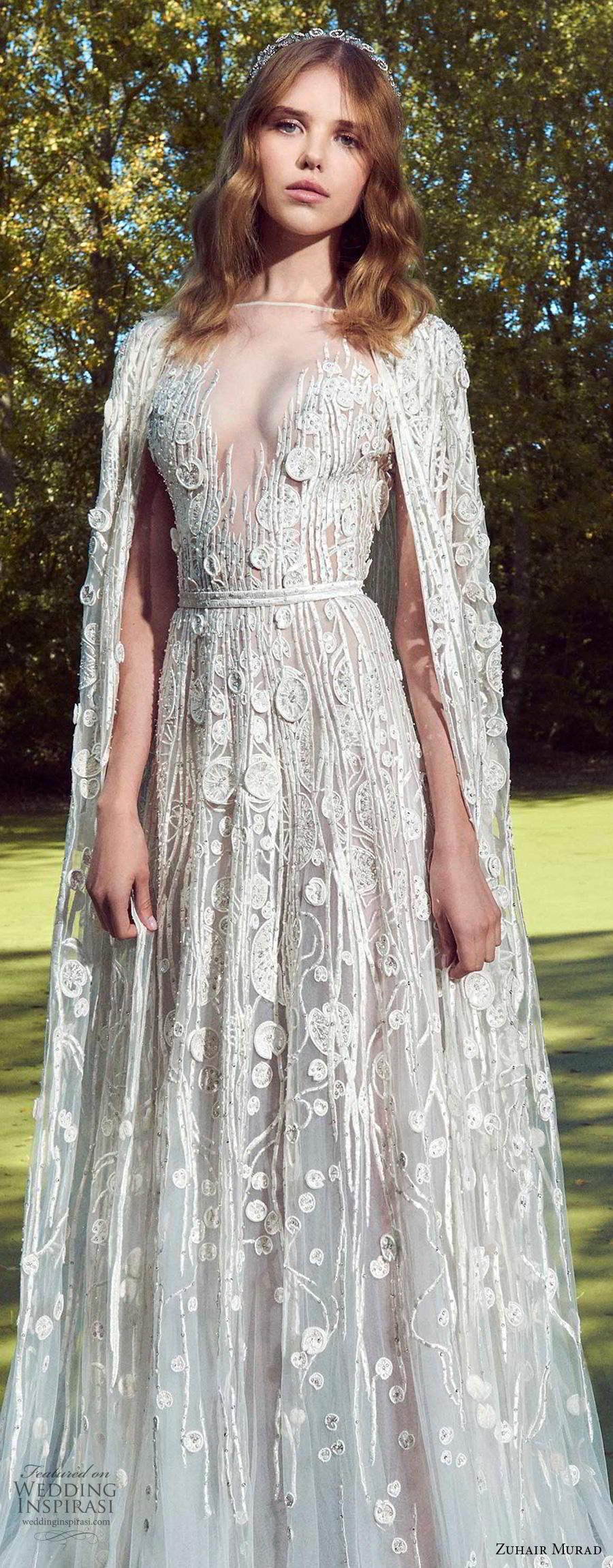zuhair murad fall 2019 bridal short sleeves illusion bateau v neckline full embellishment goddess romantic a  line wedding dress cape sweep train (9) zv