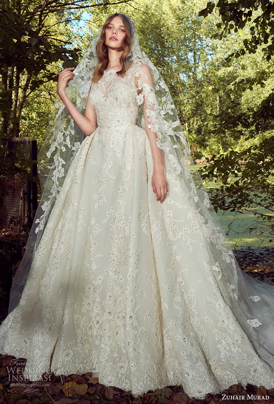 zuhair murad fall 2019 bridal sleeveless bateau neck full embellishment princess romantic ball gown a  line wedding dress chapel train (3) mv