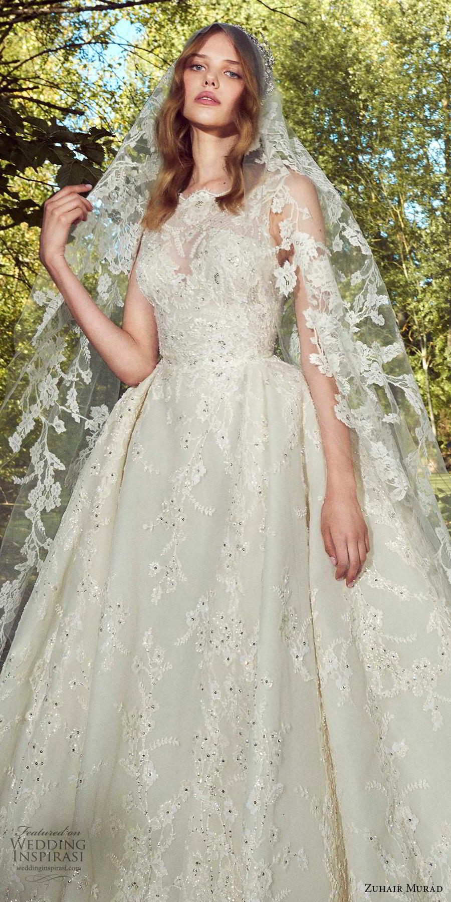zuhair murad fall 2019 bridal sleeveless bateau neck full embellishment princess romantic ball gown a  line wedding dress chapel train (3) zv