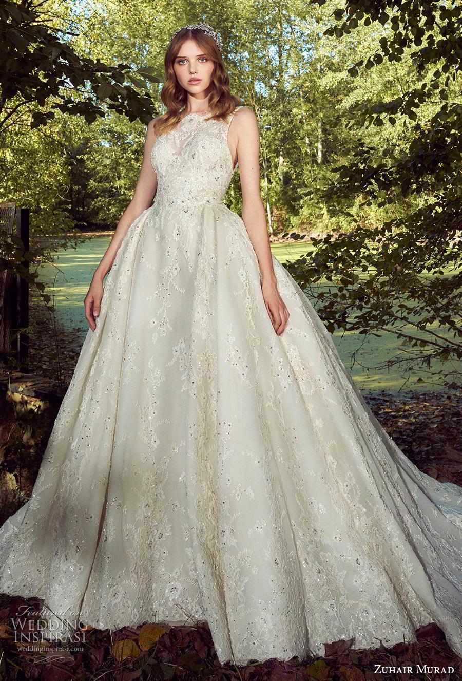zuhair murad fall 2019 bridal sleeveless illusion bateau sweetheart neckline full embellishment glitzy princess ball gown a  line wedding dress chapel train (5) mv