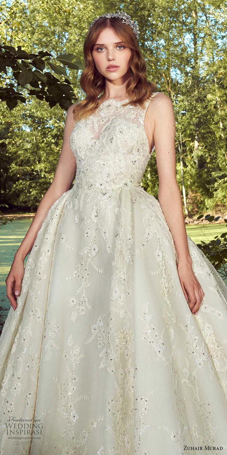 zuhair murad fall 2019 bridal sleeveless illusion bateau sweetheart neckline full embellishment glitzy princess ball gown a  line wedding dress chapel train (5) zv