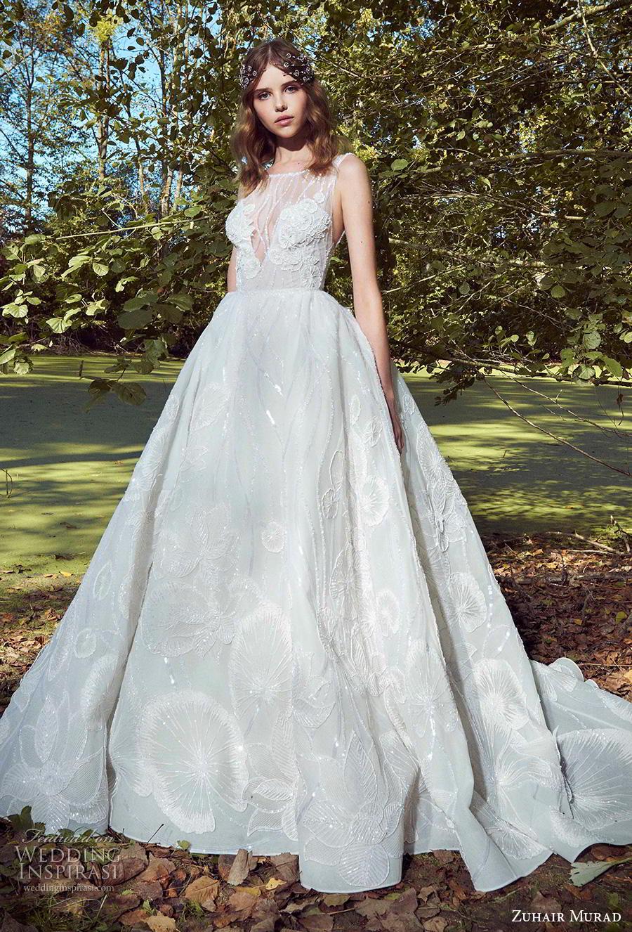 zuhair murad fall 2019 bridal sleeveless illusion bateau v neck full embellishment romantic a  line wedding dress chapel train (7) mv