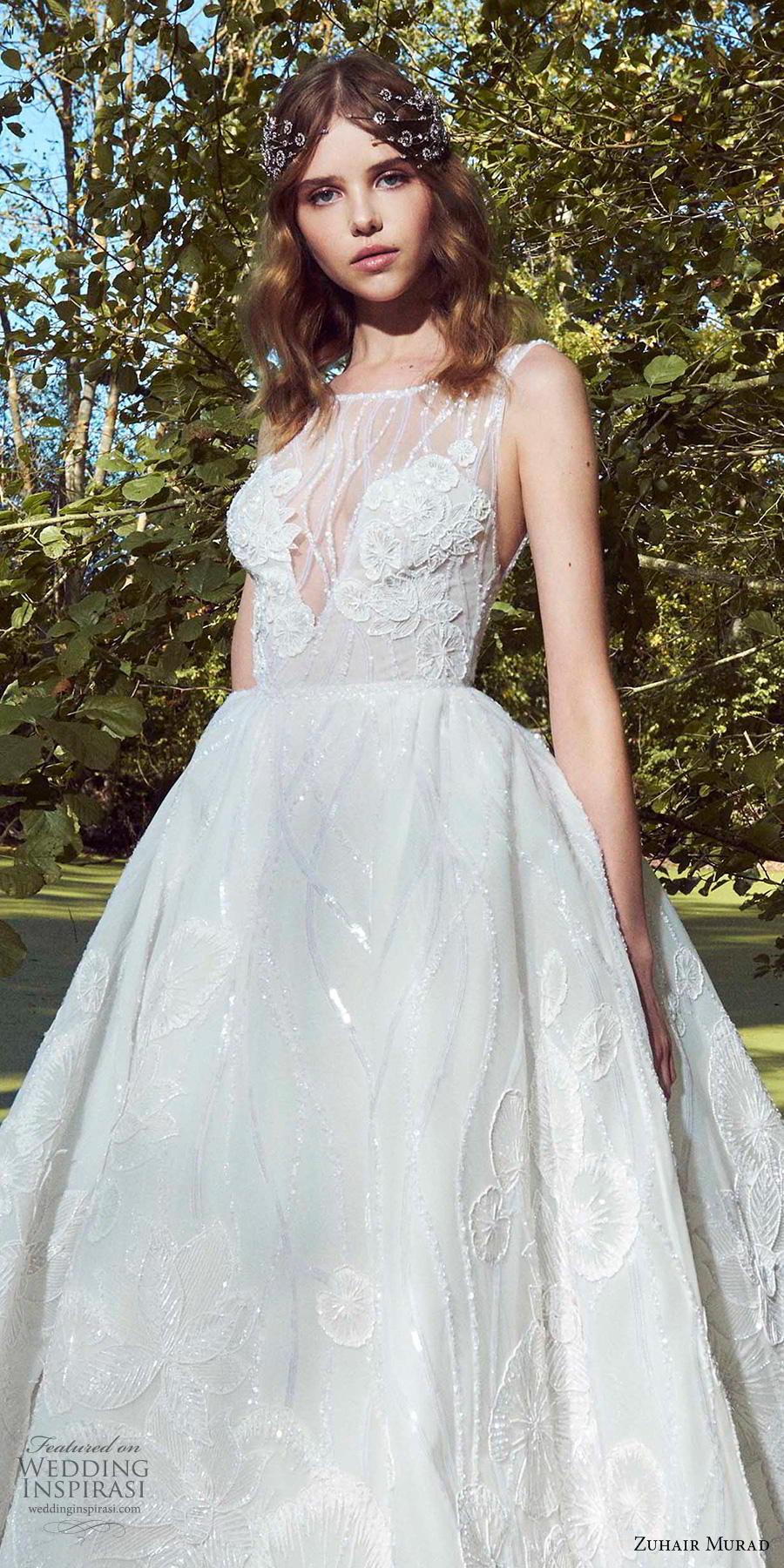 zuhair murad fall 2019 bridal sleeveless illusion bateau v neck full embellishment romantic a  line wedding dress chapel train (7) zv