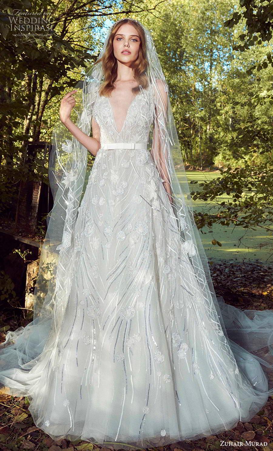 zuhair murad fall 2019 bridal sleeveless with strap deep v neck full embellishment romantic a  line wedding dress chapel train (8) mv