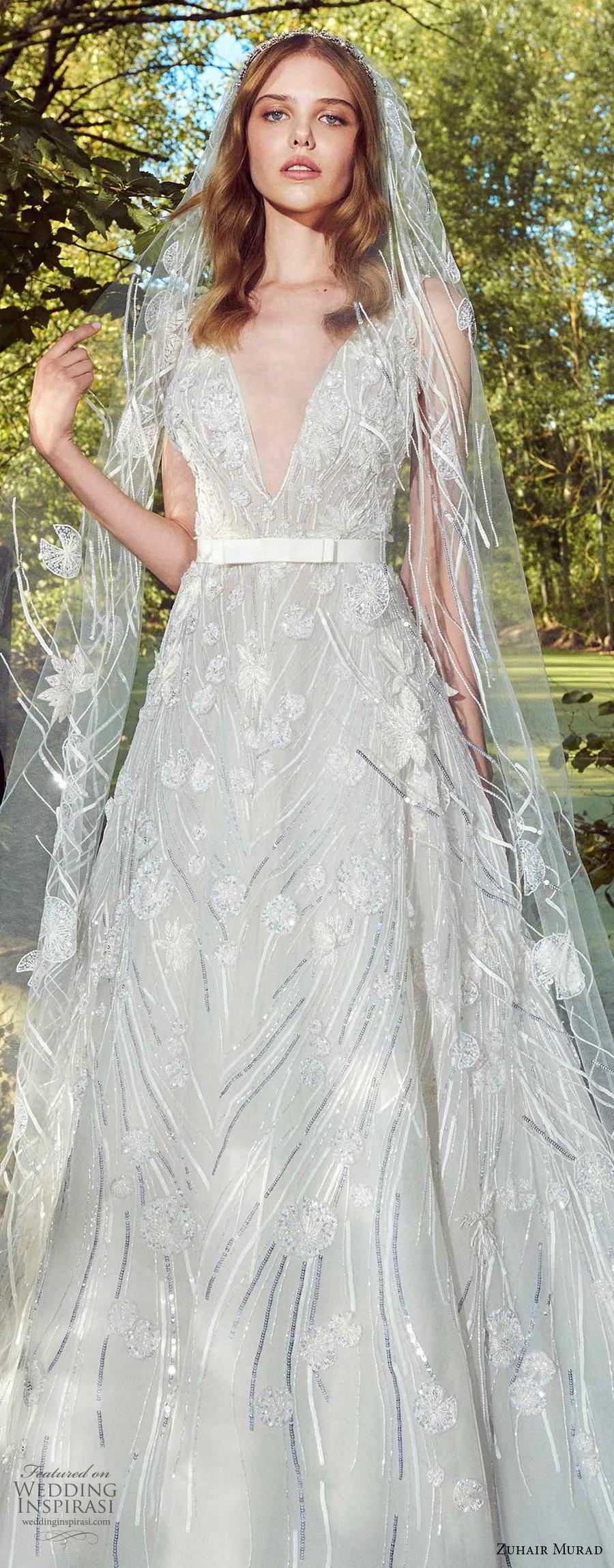 zuhair murad fall 2019 bridal sleeveless with strap deep v neck full embellishment romantic a  line wedding dress chapel train (8) zv