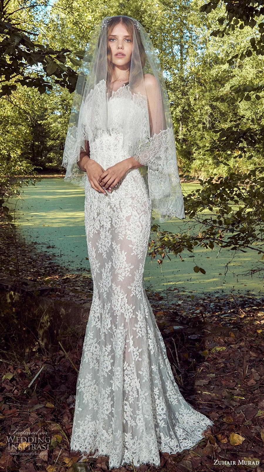 zuhair murad fall 2019 bridal strapless sweetheart neckline full embellishment elegant fit and flare sheath wedding dress sweep train (12) mv