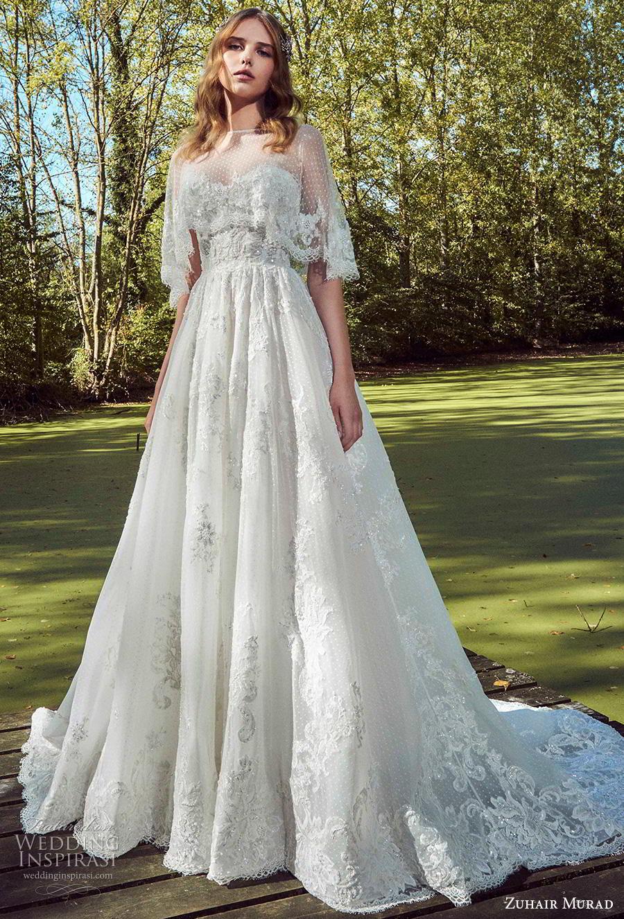 zuhair murad fall 2019 bridal strapless sweetheart neckline heavily embellished bodice bustier romantic a  line wedding dress capelet chapel train (13) zv