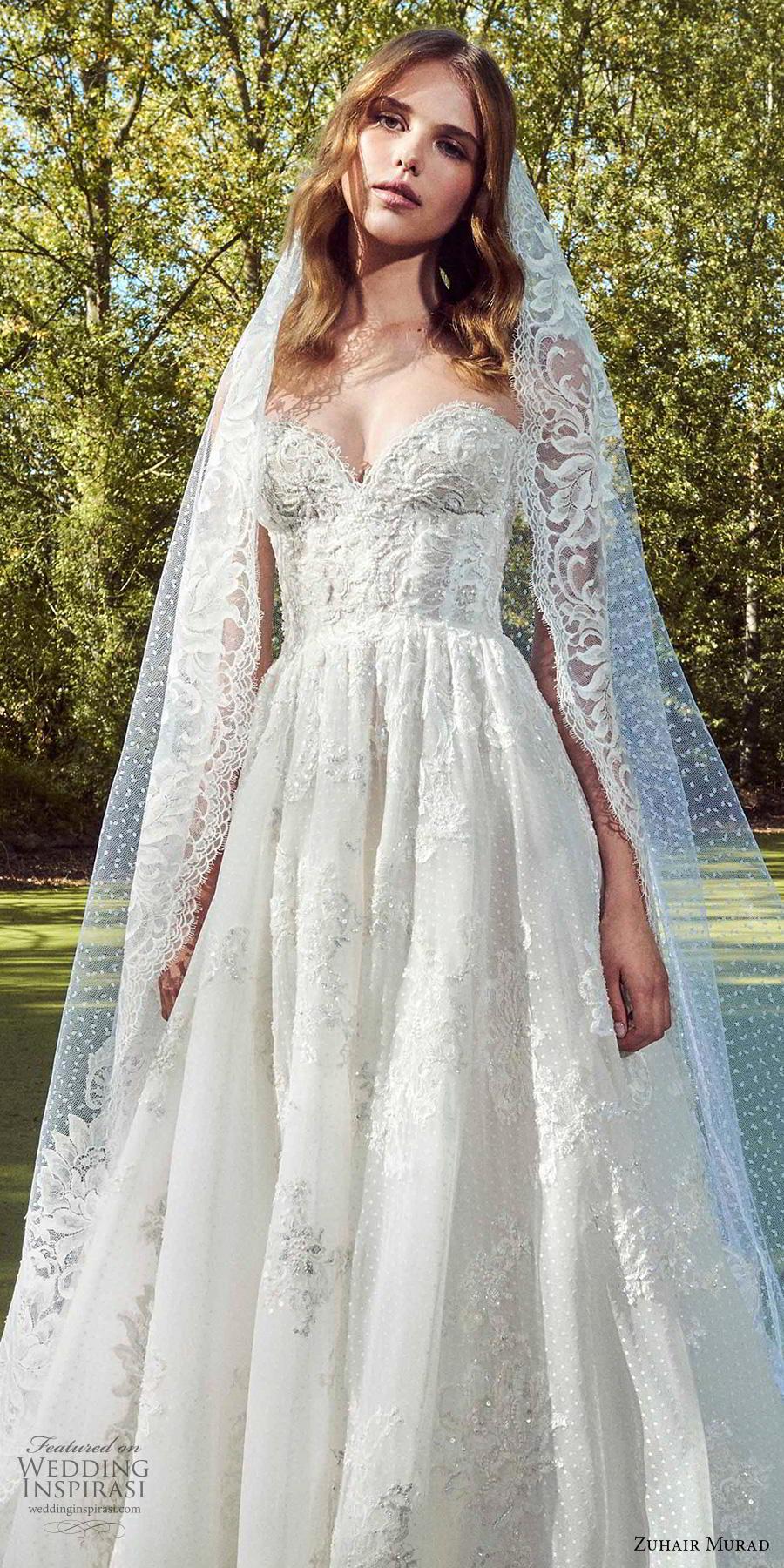 zuhair murad fall 2019 bridal strapless sweetheart neckline heavily embellished bodice bustier romantic a  line wedding dress chapel train (13) zv