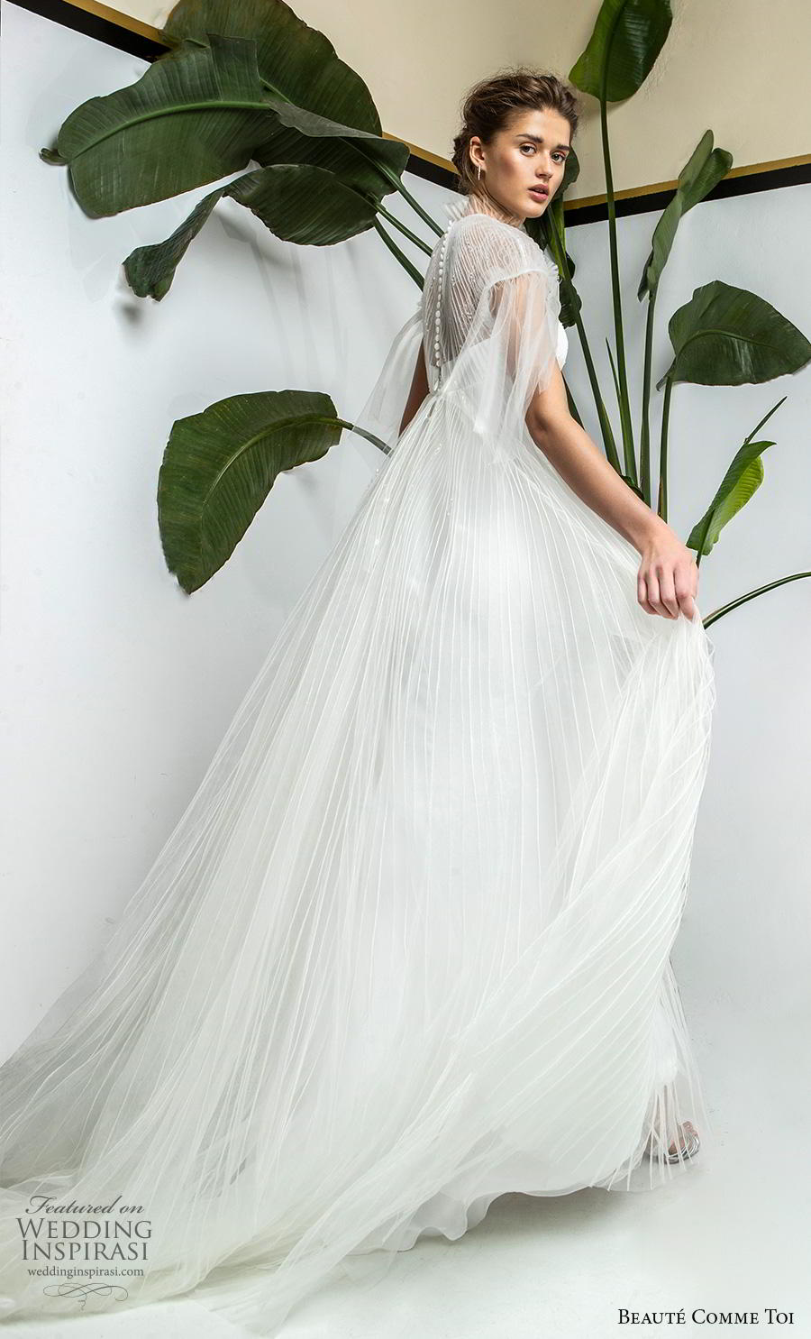 beaute comme toi 2019 bridal cap sleeves illusion high neck sweetheart neckline heavily embellished bodice romantic empire a  line wedding dress sheer lace button back chapel train (yolaine) bv