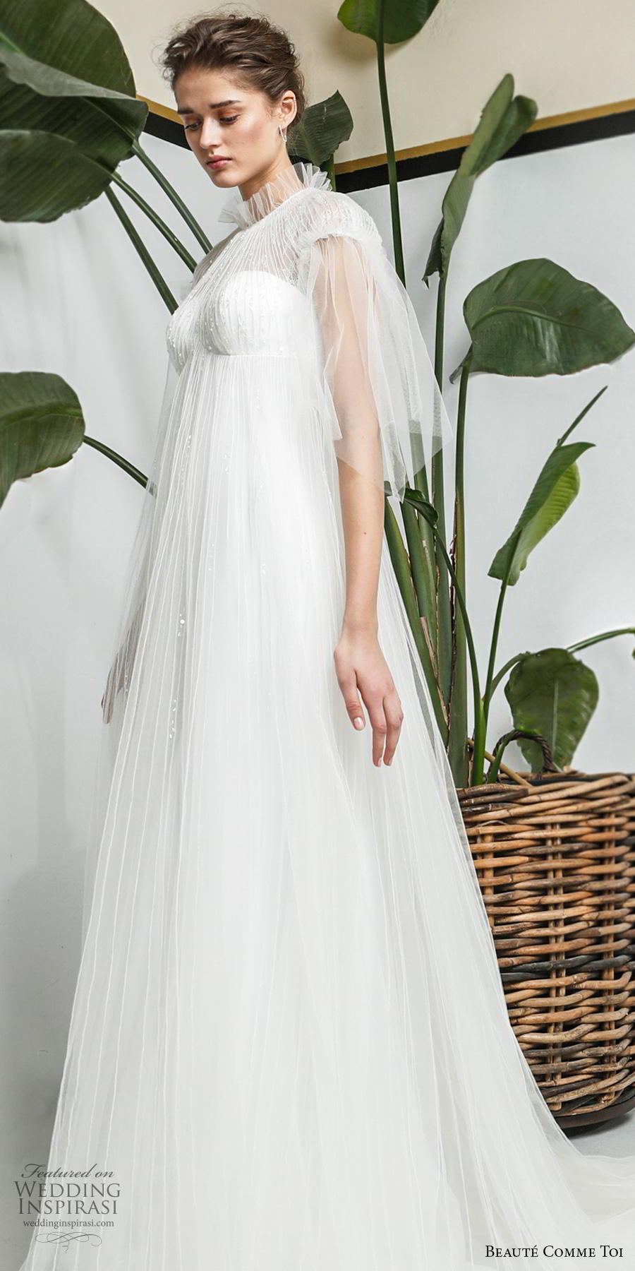 beaute comme toi 2019 bridal cap sleeves illusion high neck sweetheart neckline heavily embellished bodice romantic empire a  line wedding dress sheer lace button back chapel train (yolaine) lv