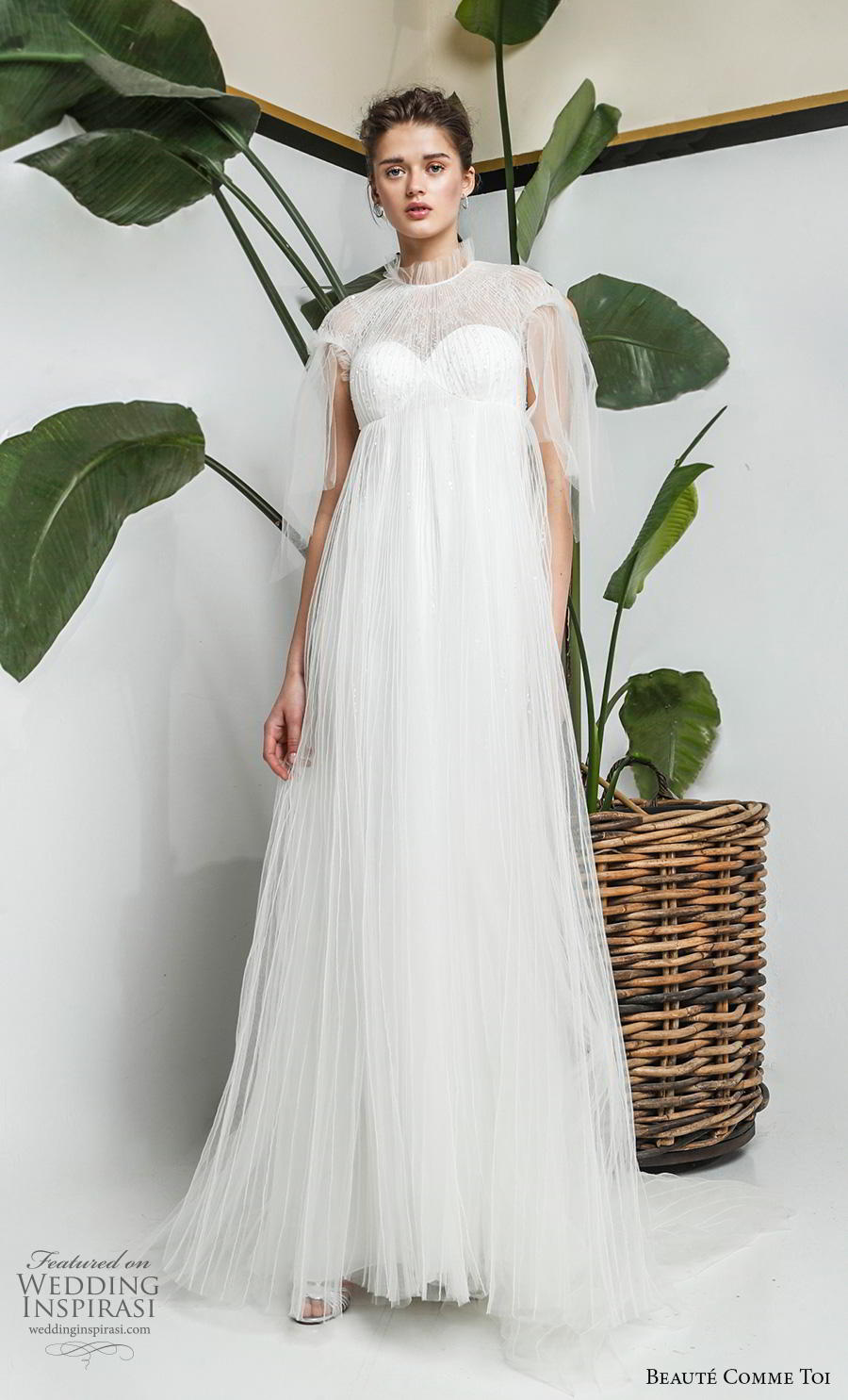 beaute comme toi 2019 bridal cap sleeves illusion high neck sweetheart neckline heavily embellished bodice romantic empire a  line wedding dress sheer lace button back chapel train (yolaine) mv