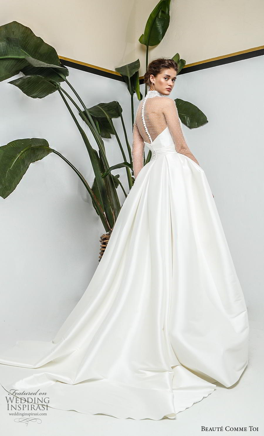 beaute comme toi 2019 bridal long sleeves illusion high neck sweetheart neckline simple minimalist romantic princess ball gown a  line wedding dress sheer button back chapel train (myriam) bv