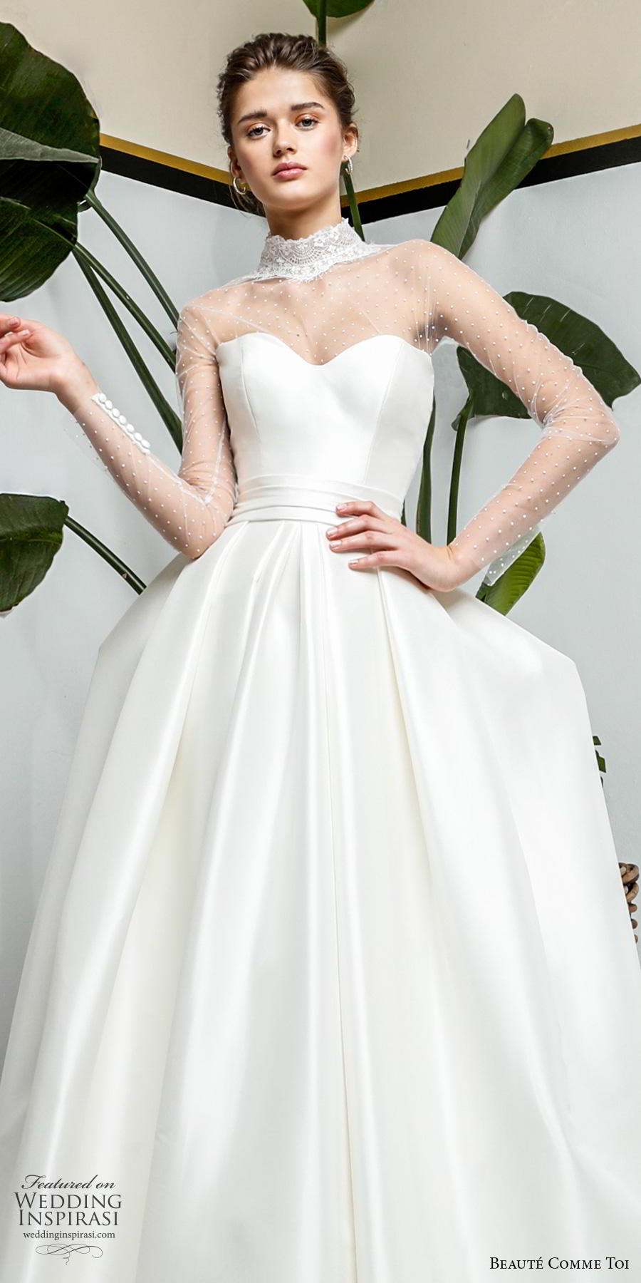 beaute comme toi 2019 bridal long sleeves illusion high neck sweetheart neckline simple minimalist romantic princess ball gown a  line wedding dress sheer button back chapel train (myriam) lv