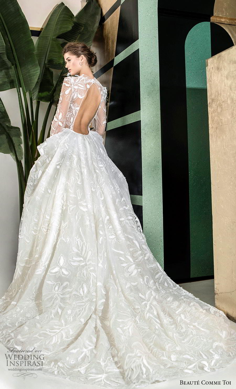 beaute comme toi 2019 bridal long sleeves illusion jewel sweetheart neckline full embellishment elegant princess a  line wedding dress keyhole back chapel train (quennia) bv