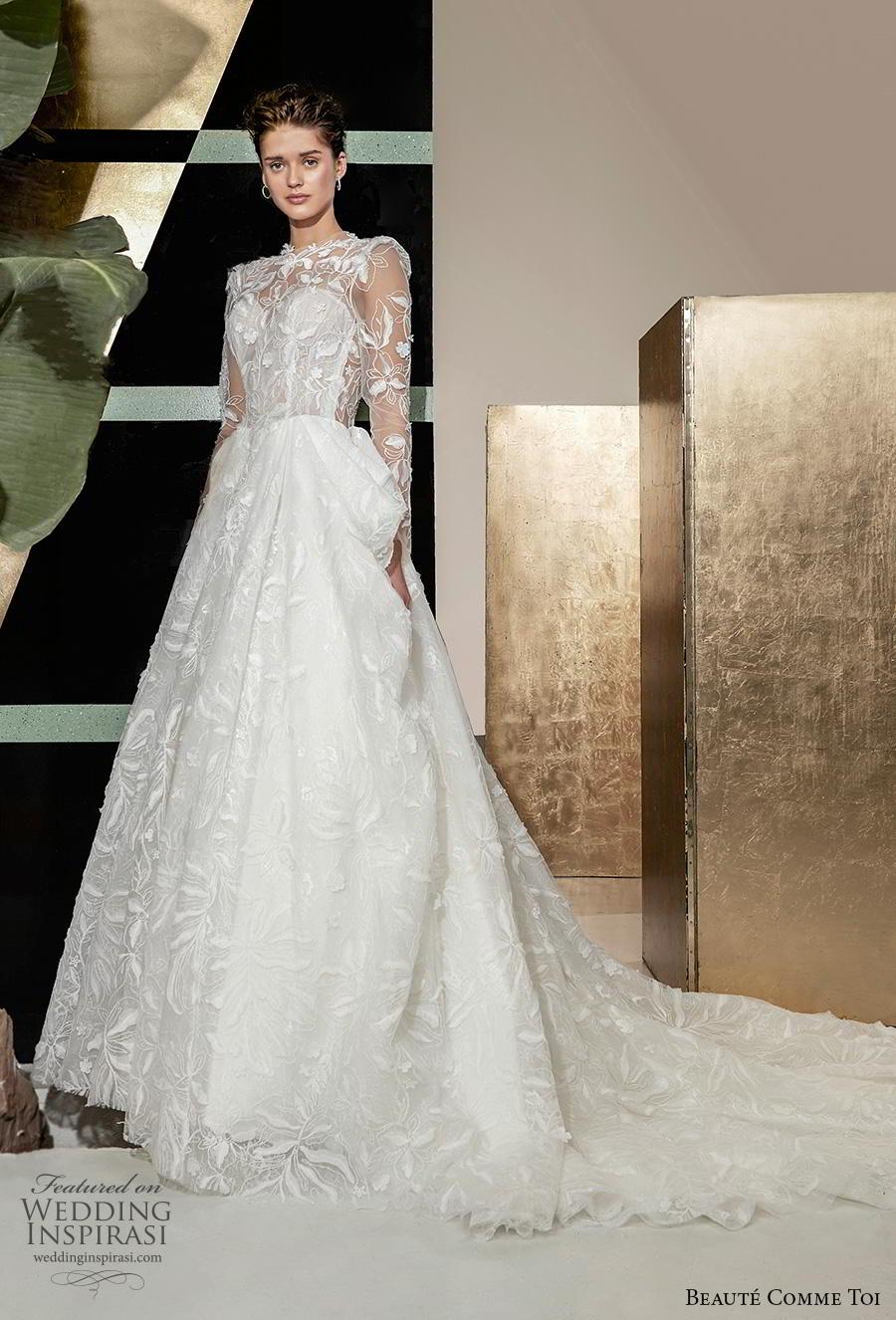 beaute comme toi 2019 bridal long sleeves illusion jewel sweetheart neckline full embellishment elegant princess a  line wedding dress keyhole back chapel train (quennia) mv