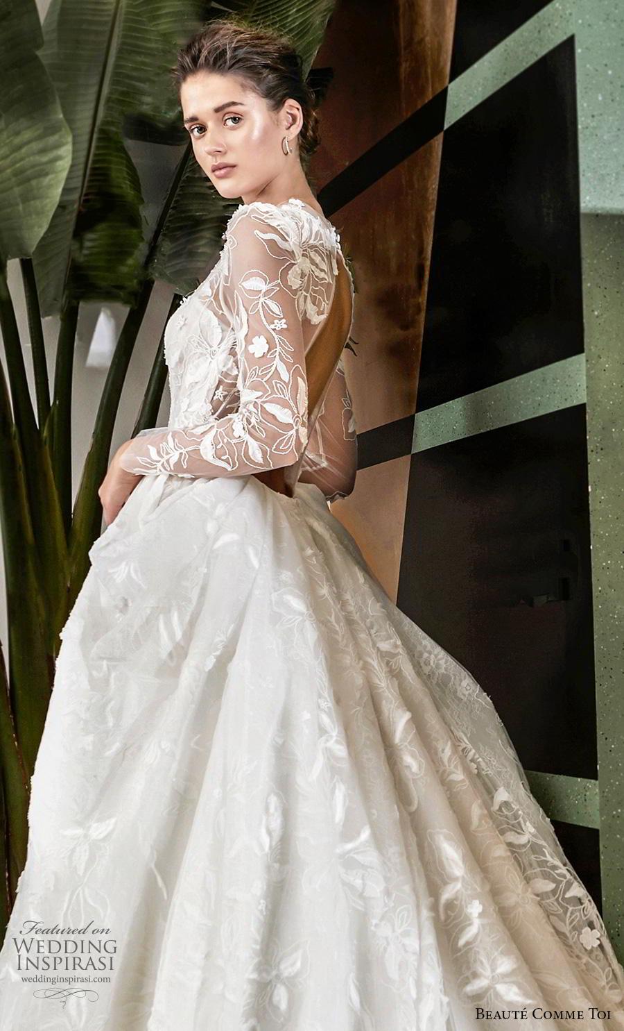 beaute comme toi 2019 bridal long sleeves illusion jewel sweetheart neckline full embellishment elegant princess a  line wedding dress keyhole back chapel train (quennia) zsdv