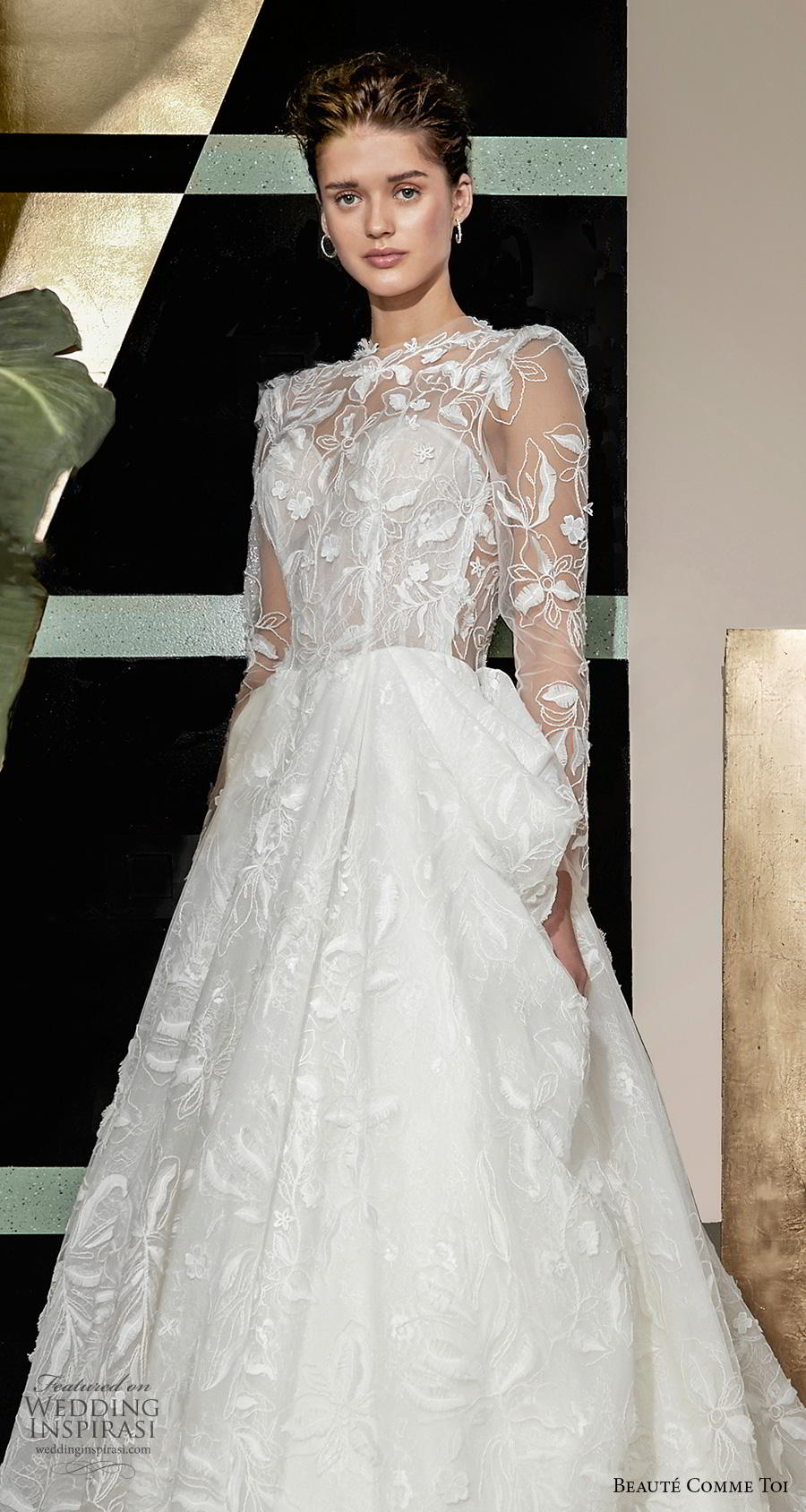 beaute comme toi 2019 bridal long sleeves illusion jewel sweetheart neckline full embellishment elegant princess a  line wedding dress keyhole back chapel train (quennia) zv