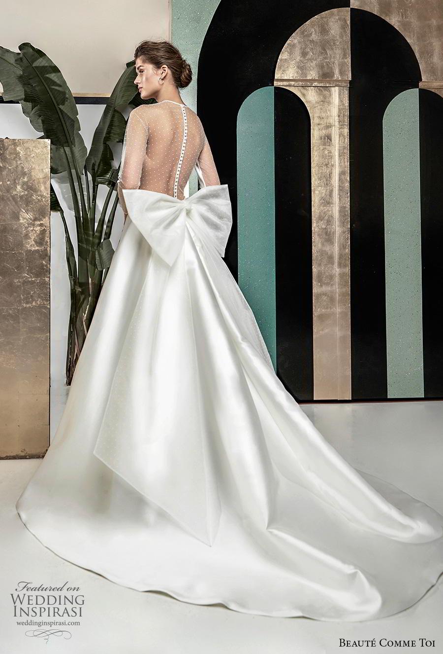 beaute comme toi 2019 bridal long sleeves illusion jewel v neck simple elegant satin a  line wedding dress sheer button ribbon back chapel train (roselyne) bv