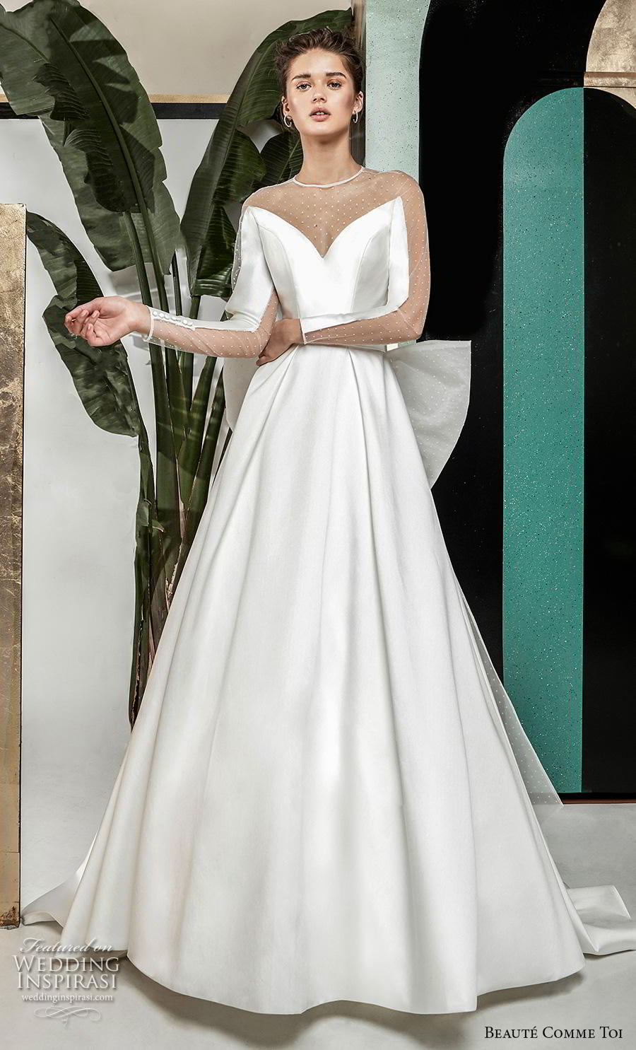 beaute comme toi 2019 bridal long sleeves illusion jewel v neck simple elegant satin a  line wedding dress sheer button ribbon back chapel train (roselyne) mv