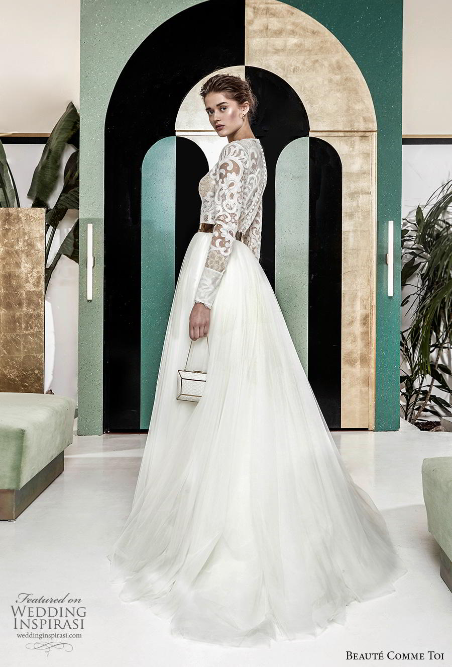 beaute comme toi 2019 bridal long sleeves jewel neck heavily embellished bodice modest glamorous classy a  line wedding dress lace button back chapel train (aude) bv