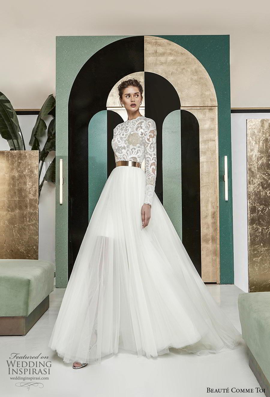 beaute comme toi 2019 bridal long sleeves jewel neck heavily embellished bodice modest glamorous classy a  line wedding dress lace button back chapel train (aude) mv
