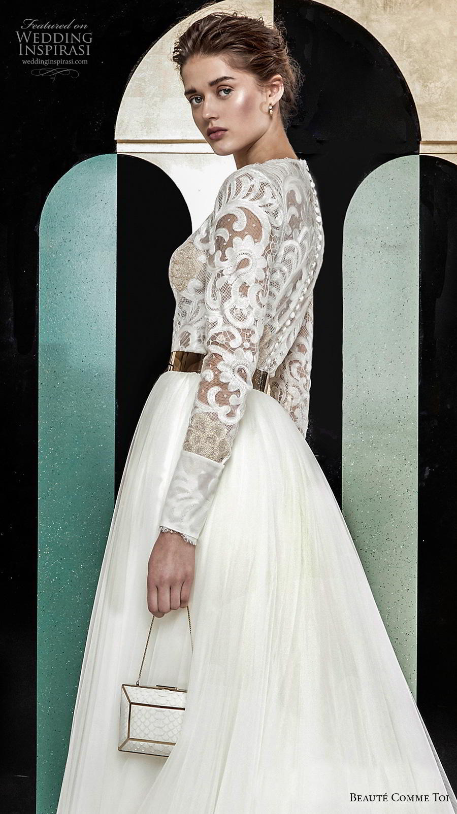 beaute comme toi 2019 bridal long sleeves jewel neck heavily embellished bodice modest glamorous classy a  line wedding dress lace button back chapel train (aude) zbv