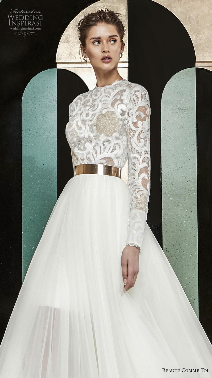 beaute comme toi 2019 bridal long sleeves jewel neck heavily embellished bodice modest glamorous classy a  line wedding dress lace button back chapel train (aude) zv
