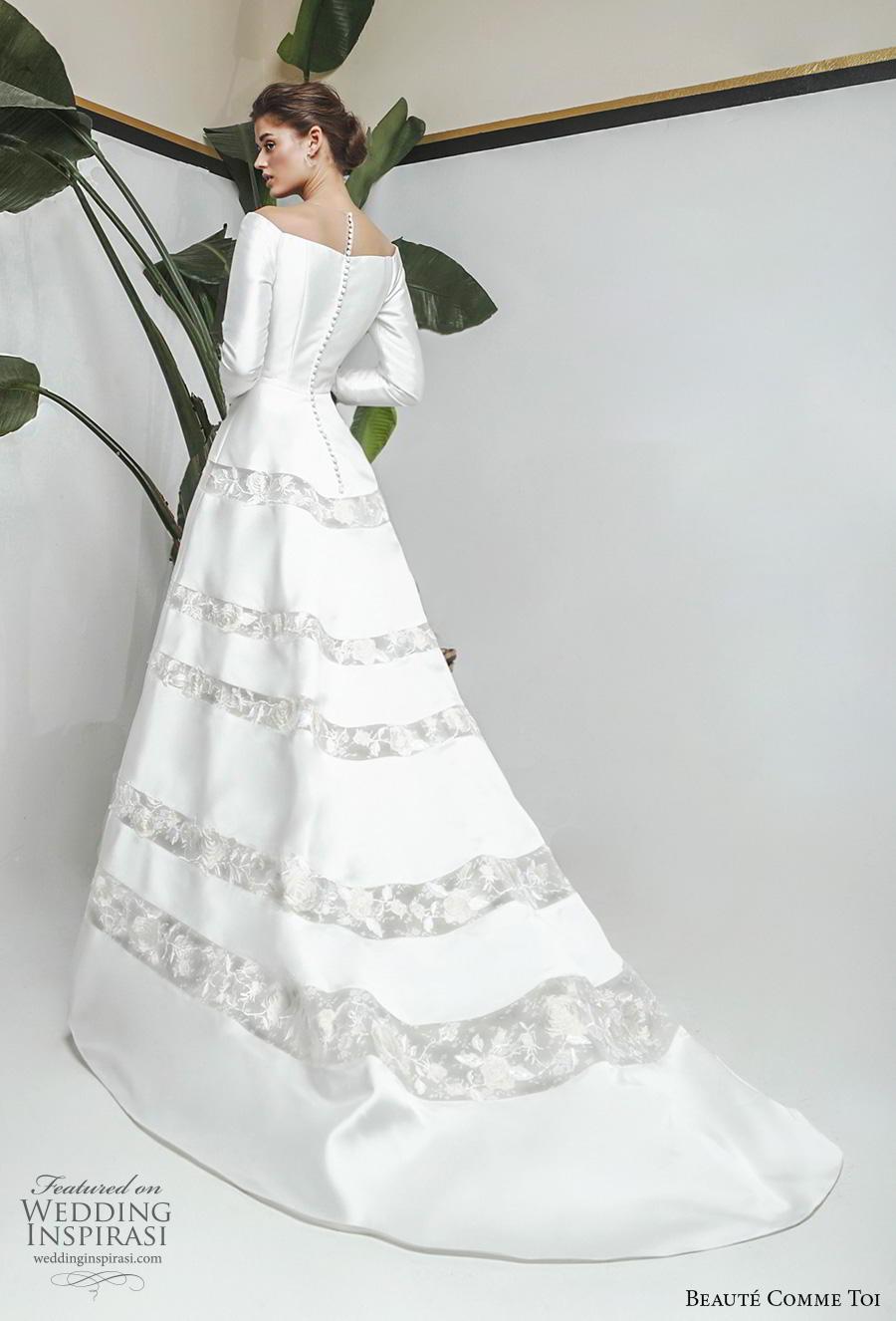 beaute comme toi 2019 bridal long sleeves v neck simple light embellished skirt elegant classy a  line wedding dress chapel train (lisle) bv