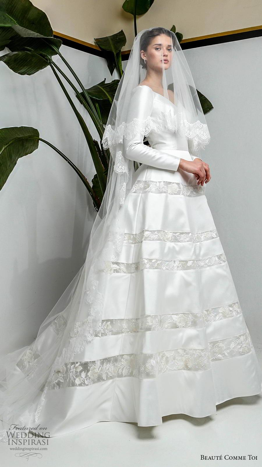 beaute comme toi 2019 bridal long sleeves v neck simple light embellished skirt elegant classy a  line wedding dress chapel train (lisle) mv