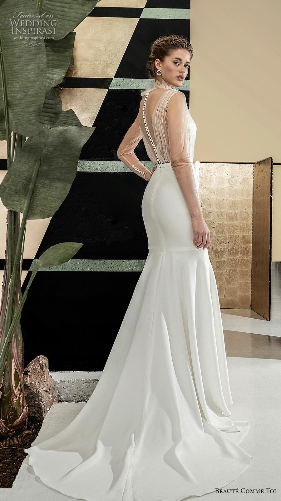 beaute comme toi 2019 bridal sheer long sleeves illusion high neck deep v neck heavily embellished bodice elegant fit and flare wedding dress sheer button back chapel train (helain) bv