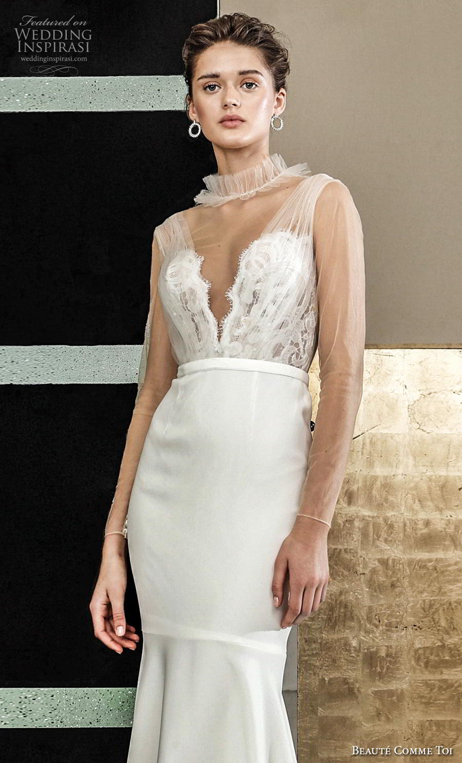 beaute comme toi 2019 bridal sheer long sleeves illusion high neck deep v neck heavily embellished bodice elegant fit and flare wedding dress sheer button back chapel train (helain) zv