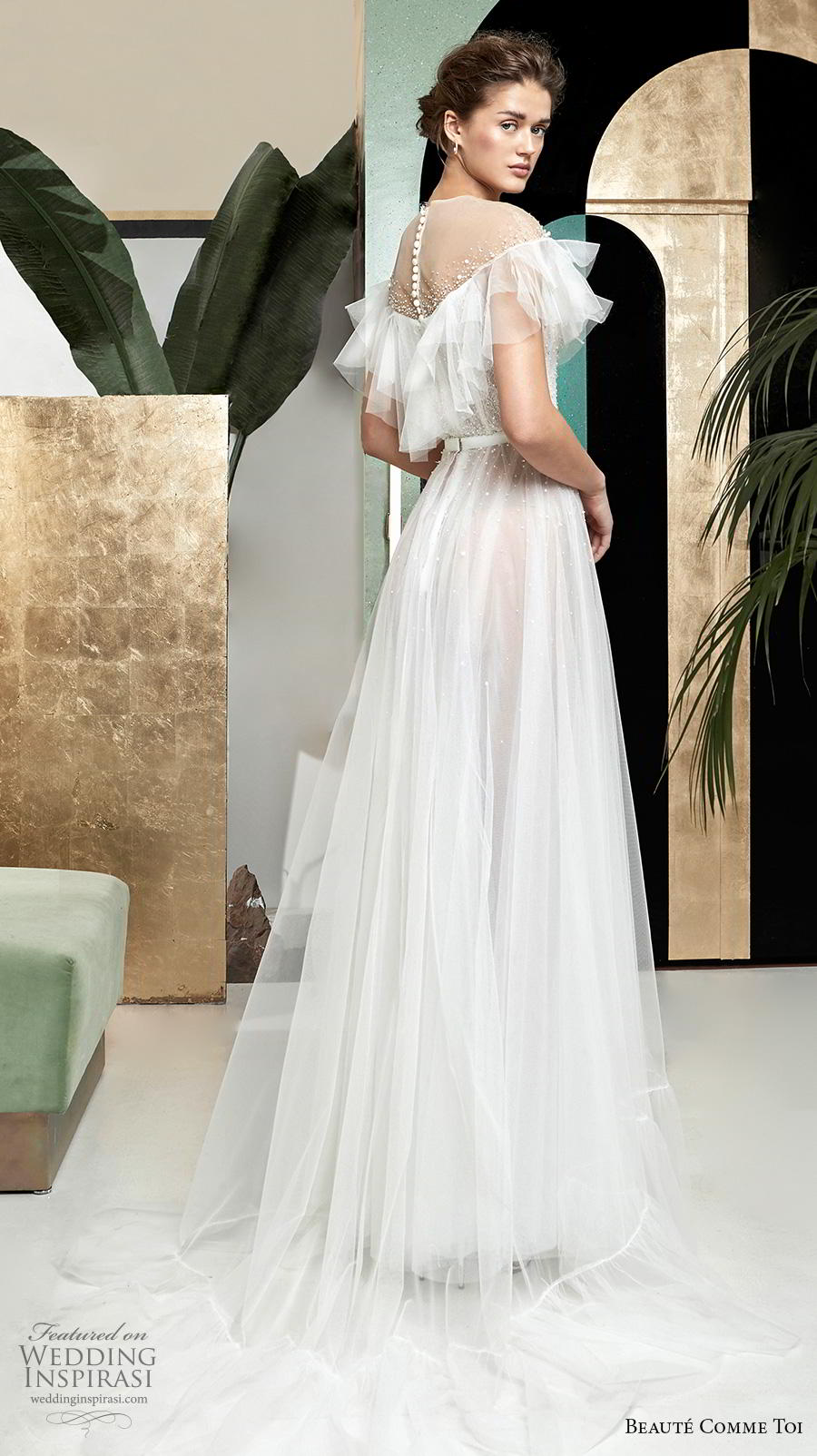 beaute comme toi 2019 bridal short tiered sleeves illusion jewel deep plunging sweetheart neckline romantic soft a  line wedding dress sheer button mid back medium train (lysiann) bv