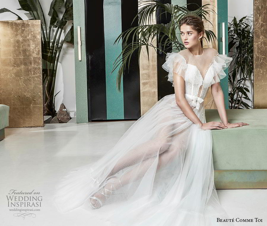 beaute comme toi 2019 bridal short tiered sleeves illusion jewel deep plunging sweetheart neckline romantic soft a  line wedding dress sheer button mid back medium train (lysiann) wv