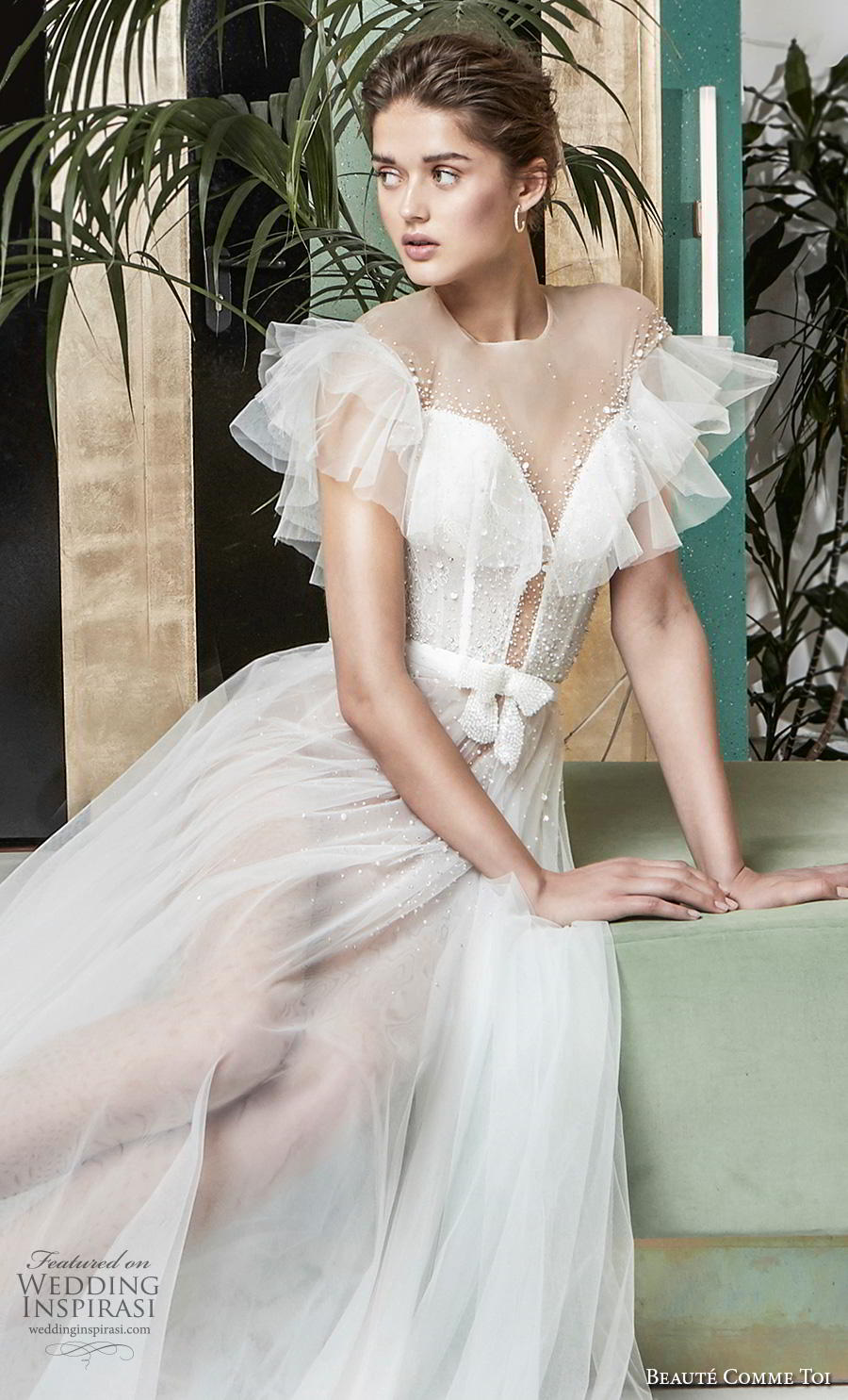 beaute comme toi 2019 bridal short tiered sleeves illusion jewel deep plunging sweetheart neckline romantic soft a  line wedding dress sheer button mid back medium train (lysiann) zv